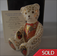 Royal Crown Derby Papereight - Teddy Bear Red Bow Tie L/E