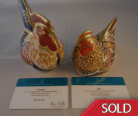 Royal Crown Derby Paperweight - Derbyshire Hen and Cockerel Limited Edition - Rare