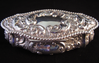 Oval Victorian Silver Trinket Box Sheffield 1898