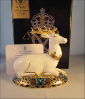 Royal Crown Derby Paperweight - White Hart Stag