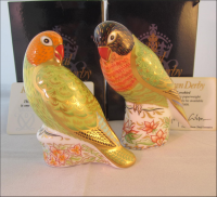 "Pair Royal Crown Derby Paperweights - "" Lovebirds"""