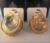 "Pair Royal Crown Derby Paperweights ""Dragon of Happiness and  Good Fortune"""
